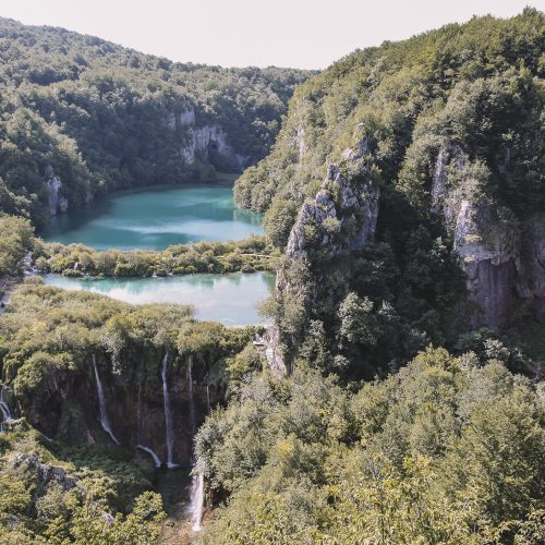 Birds-eye view of Plitvice Lakes National Park in Croatia