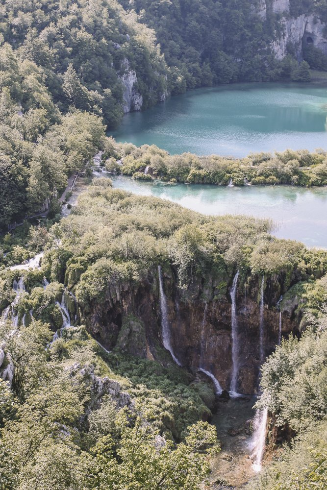 Birds-eye view of the lakes and waterfalls