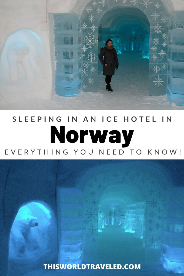 Pinterest board cover about sleeping in an ice hotel in Norway