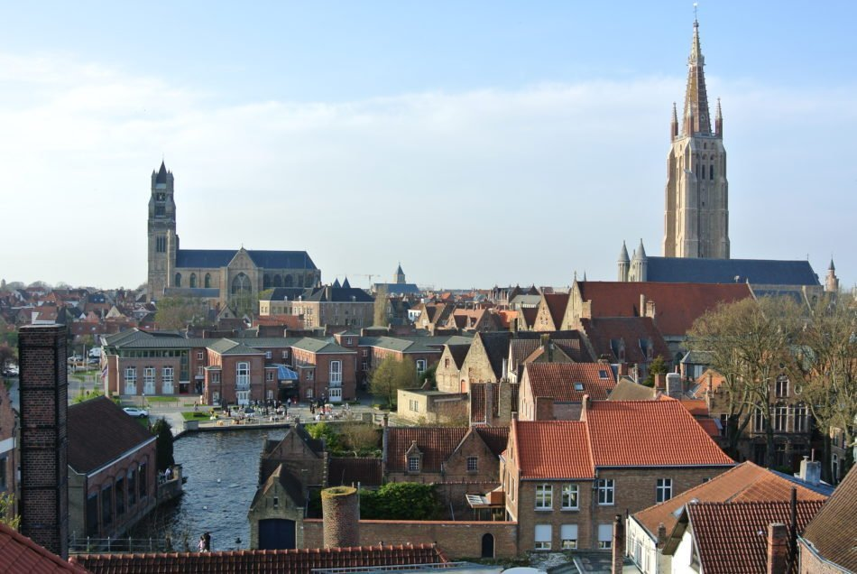 Getting a view of Brugge, Belgium from the top of the tower