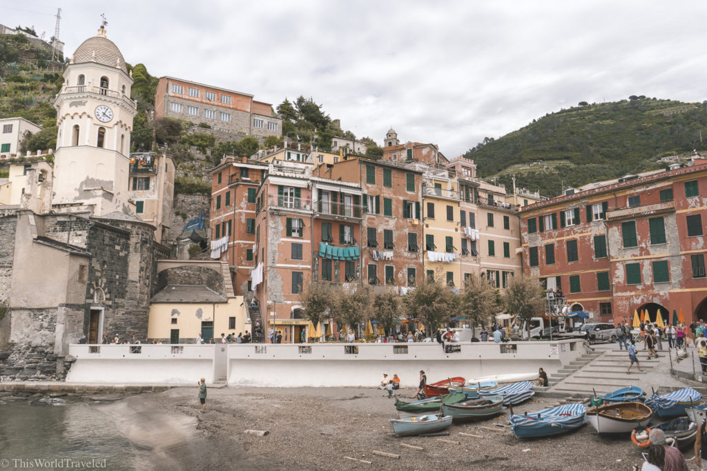 The colorful town of Vernazza in the Italian Riviera