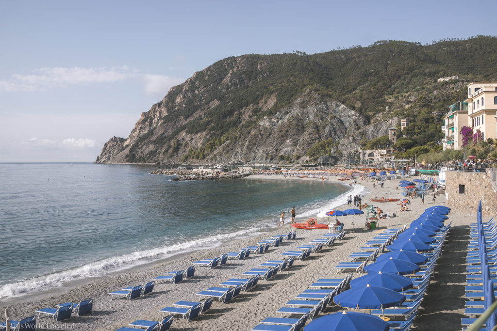 The umbrellas that line the beaches of Monterosso al Mare in the summertime