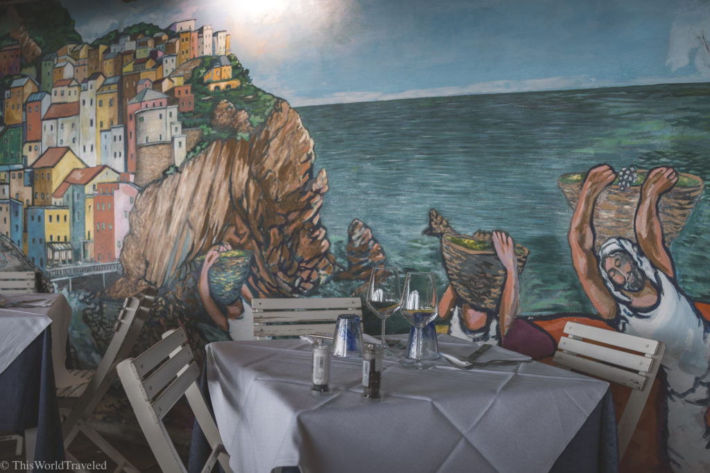 This lovely restaurant in Manarola has the best mural wall.