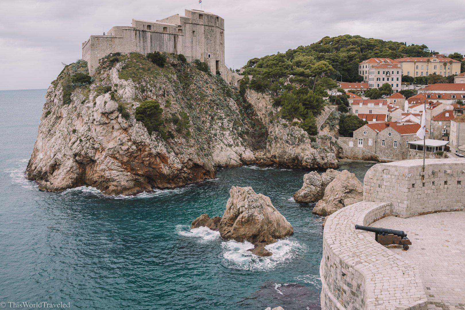 View of Dubrovnik in Croatia from walking the city walls