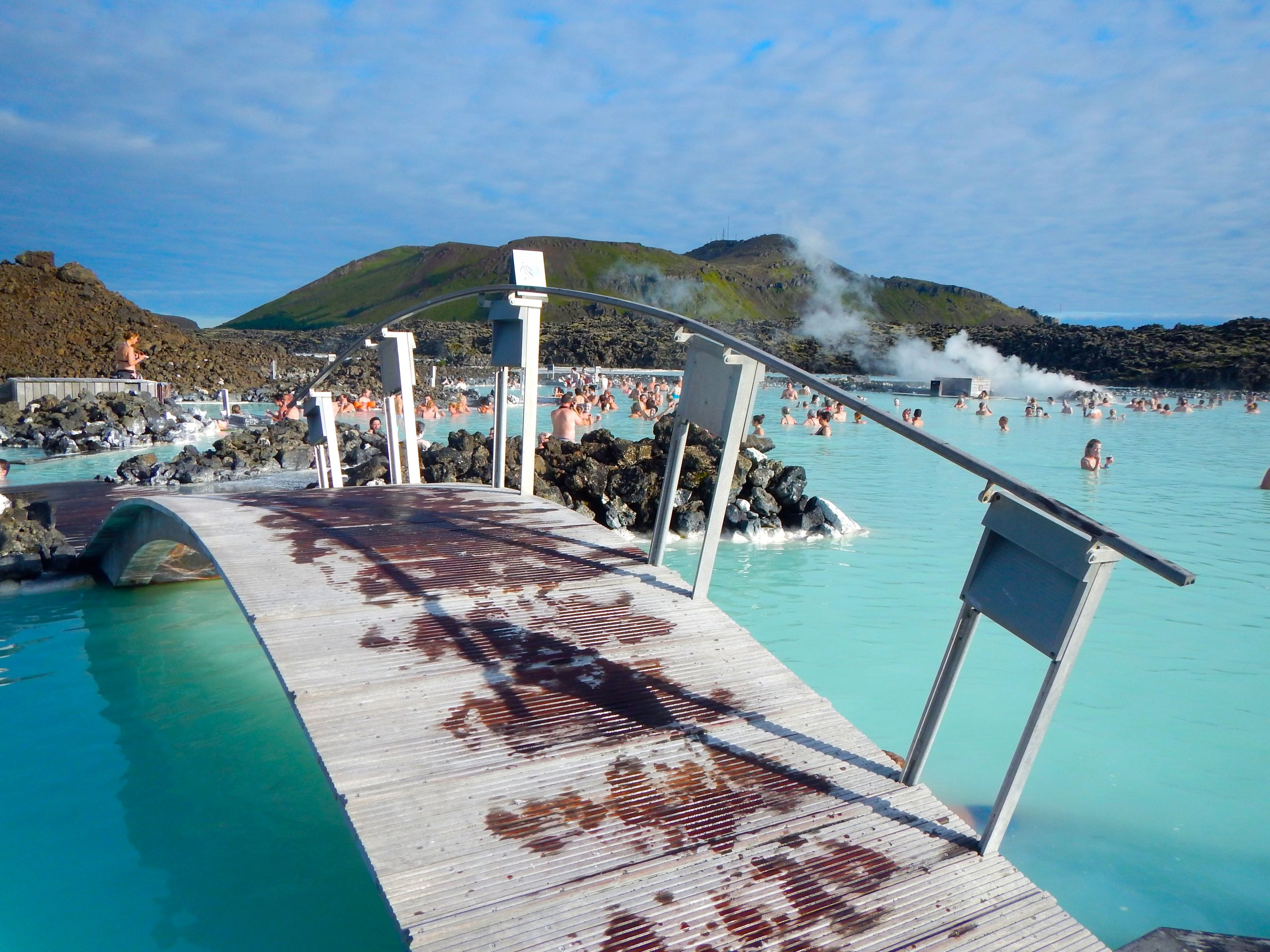 Relaxing in the geothermal waters of Iceland's Famous Blue Lagoon