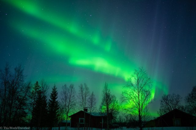 The green northern lights dancing in the sky in Norway