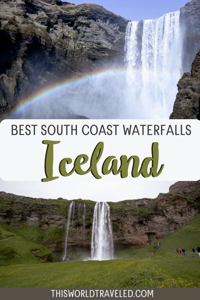 Pinterest pin of Iceland's best south coast waterfalls including Gljúfrabúi, Seljalandsfoss and Skógafoss!