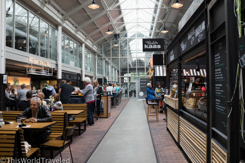 The interior of Foodhallen in Amsterdam