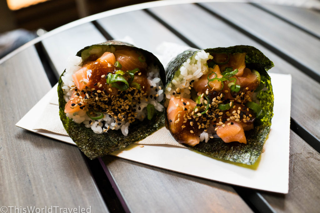 A delicious sushi dish served at Foodhallen in Amsterdam