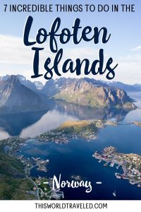 A panoramic view of the village of Reine in the Lofoten Islands as seen from Reinebrigen