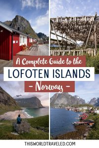 Photos of the Lofoten Islands to include a red fishing hut, stockfish drying, a view of a beach and the village of Reine in the Lofoten Islands