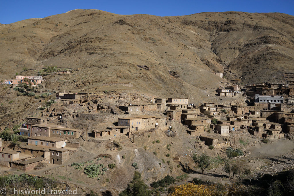 A small village built into the mountains in Morocco