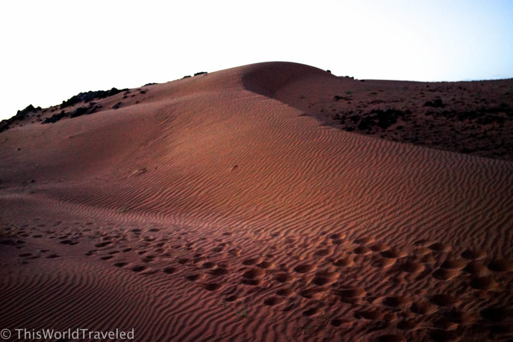 The small sand dunes of the Zagora desert in Morocco