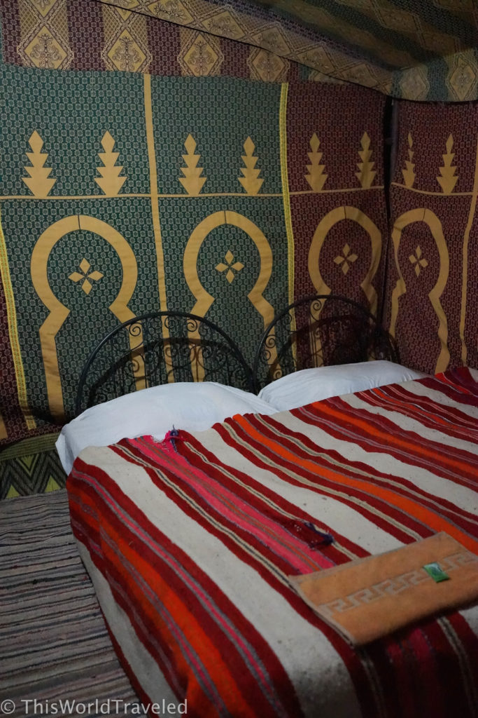 Our cozy beds in our tents in the Zagora desert in Morocco