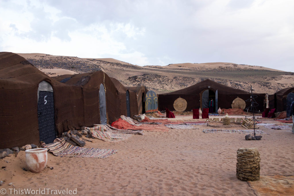 Our camp where we would spend the night in the middle of the Zagora desert in Morocco