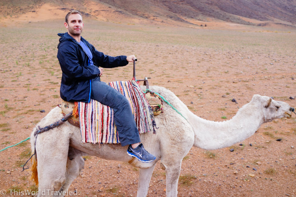 Jamin up on his camel in Morocco