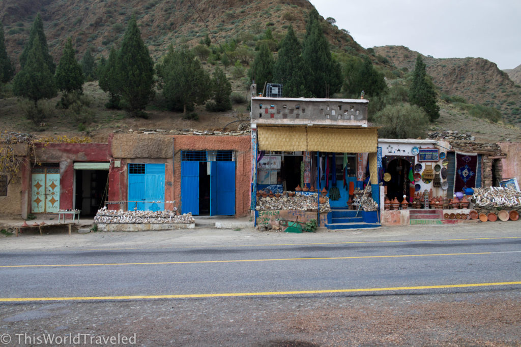 Shops that can be seen along the road from our drive to and from Marrakech to the Zagora desert