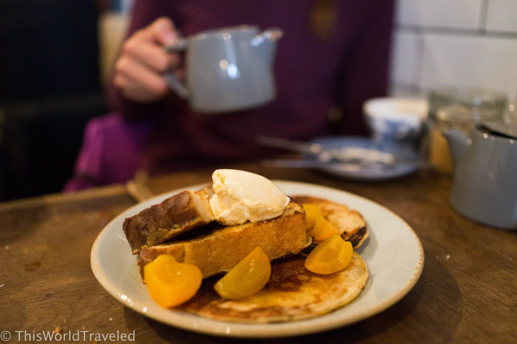 The yummy plate of french toast and fresh fruit at Foxcroft & Ginger in London