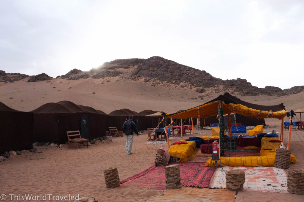 Our fun camp in the Zagora desert during our camel trek in Morocco