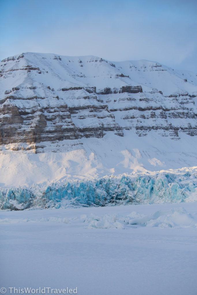 The pristine blue glacier near Templefjorden in Svalbard