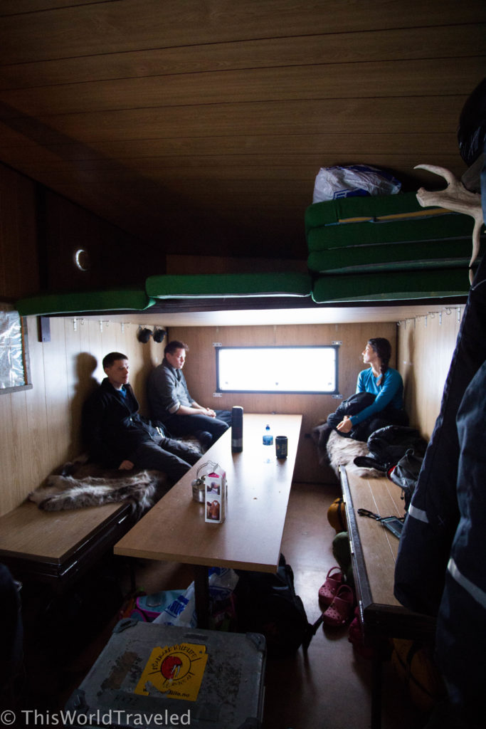 The small space inside our cabin in the middle of nowhere, Svalbard