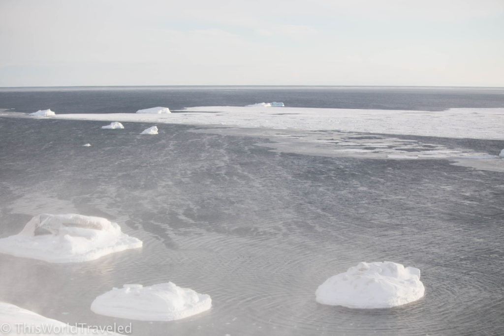 The many icebergs floating along the coast of Svalbard