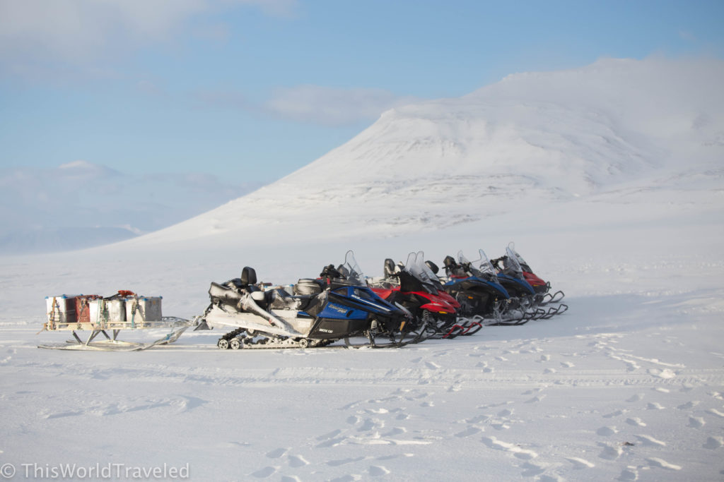 Our snowmobiles parked on the Templefjorden in Svalbard