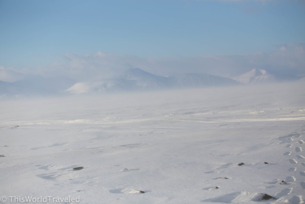The vast expanse of snow and ice in Svalbard