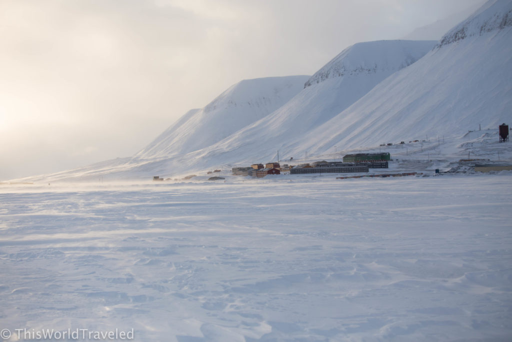 The small coal mining town of Svea located in Svalbard
