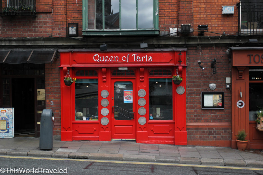 The adorable red-fronted shop of Queen of Tart's in Dublin