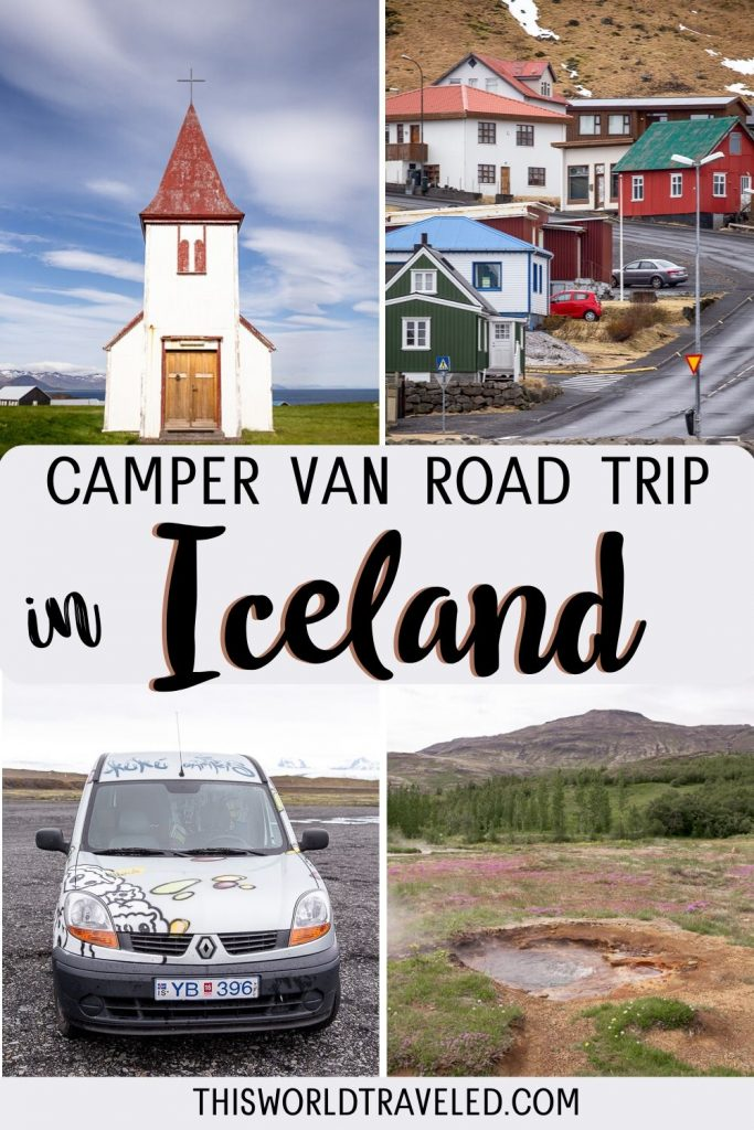 Pinterest board cover that has pictures of Iceland and text that says Camper Van Road Trip in Iceland