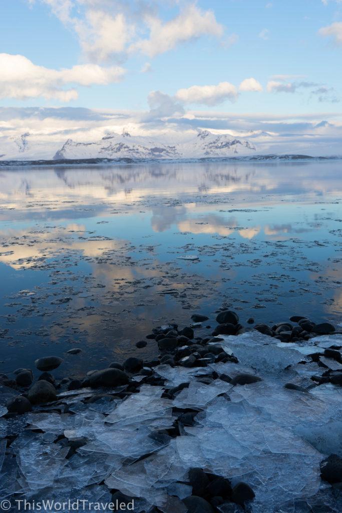Sheets of ice washed ashore at Iceland's Jökulsárlón glacier lagoon