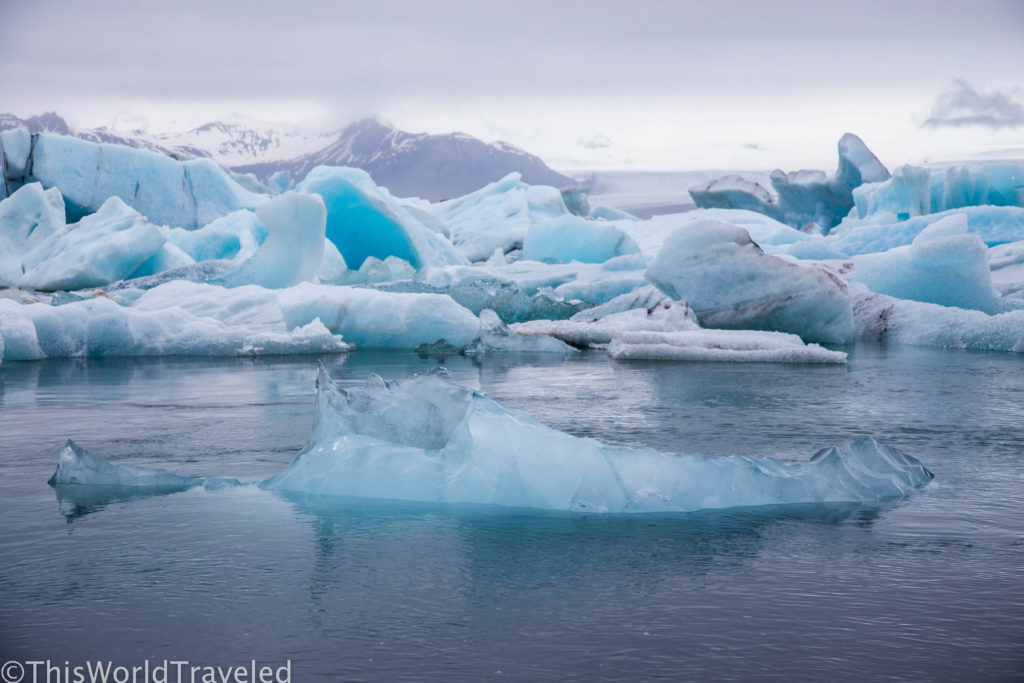 Icebergs floating around Iceland's Jökulsárlón glacier lagoon