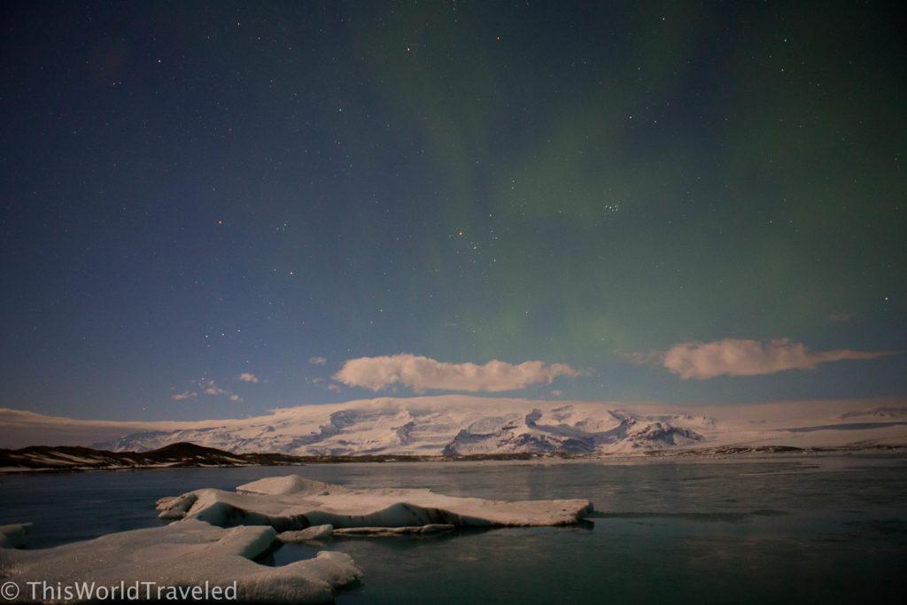 Northern Light dancing above Iceland's Glacier lagoon