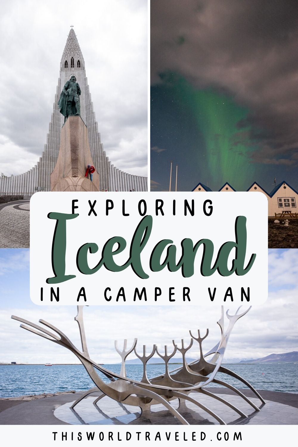 Pinterest board cover that has pictures of Iceland and text that says Exploring Iceland in a Camper Van