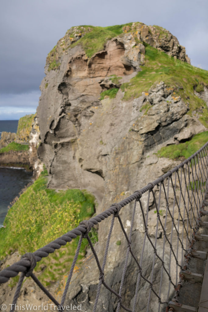 The precarious Carrick-a-Rede rope bridge in Northern Ireland
