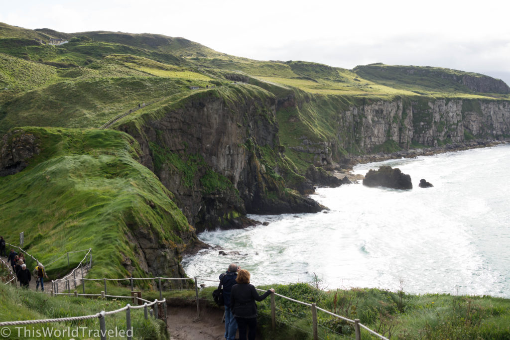 The soaring cliffs at the Carrick-a-Rede rope bridge in Northern Ireland