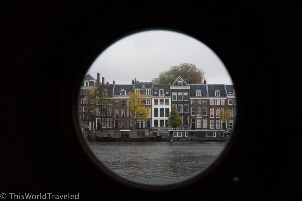 The incredible views from our porthole window in our Amsterdam houseboat