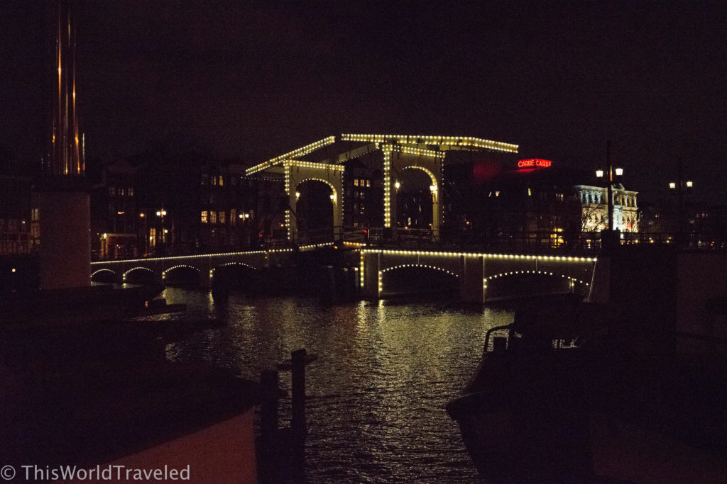 View of the skinny bridge from our houseboat in Amsterdam