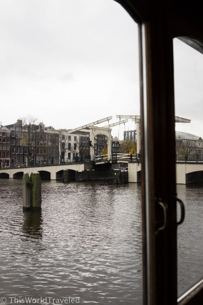 Despite the rainy weather, the view of the skinny bridge from the houseboat is picture perfect