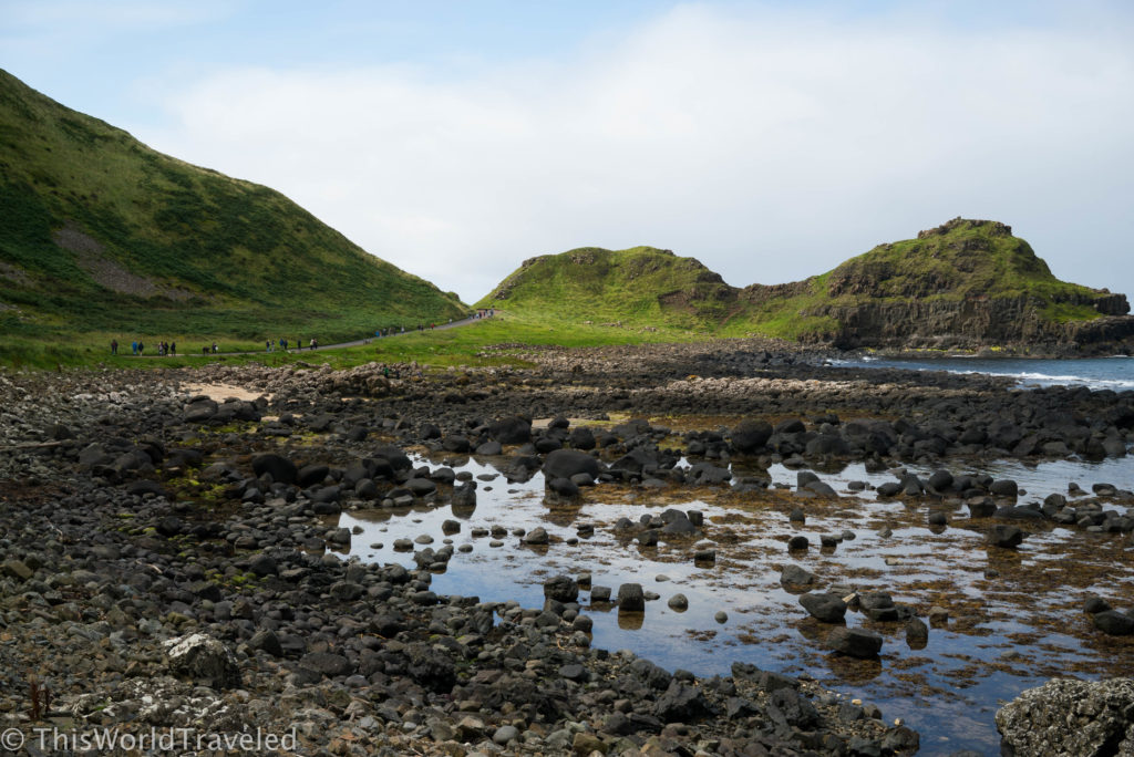 The long path leading to Giant's Causeway in Northern Ireland