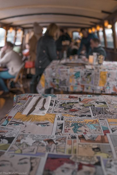 Inside the G's Brunch Boat! They have comic strip tablecloths and delicious food!