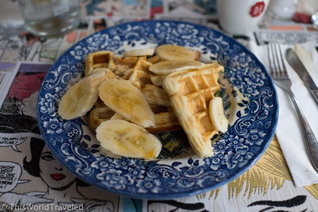 The delicious waffles and bananas on Gs brunch boat