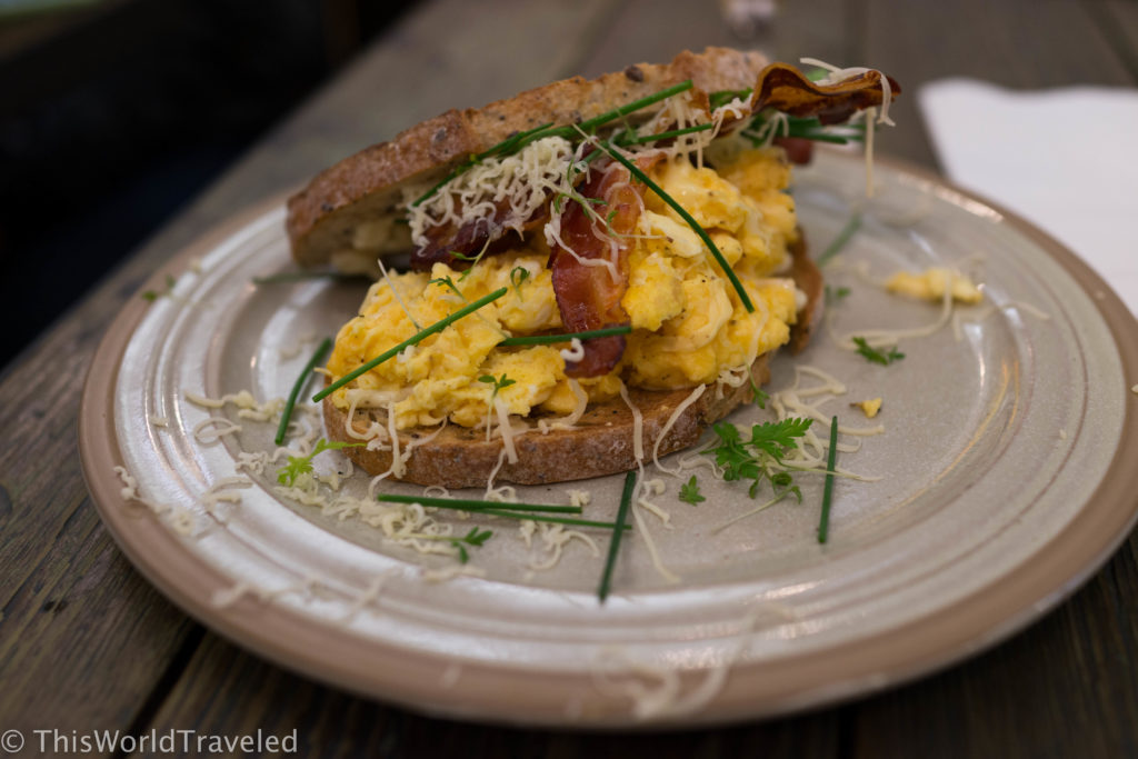 Eggs, bacon and toast on Gs brunch boat in Amsterdam