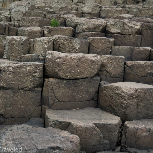 The stacked basalt columns of Giant's Causeway in Northern Ireland