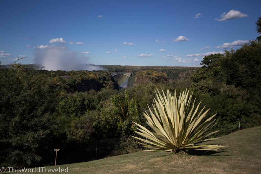 The mist rising from Victoria Falls as seen from the Victoria Falls Hotel