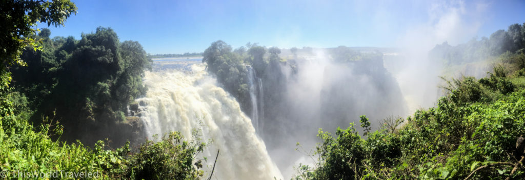 Panoramic view of Victoria Falls in Zimbabwe