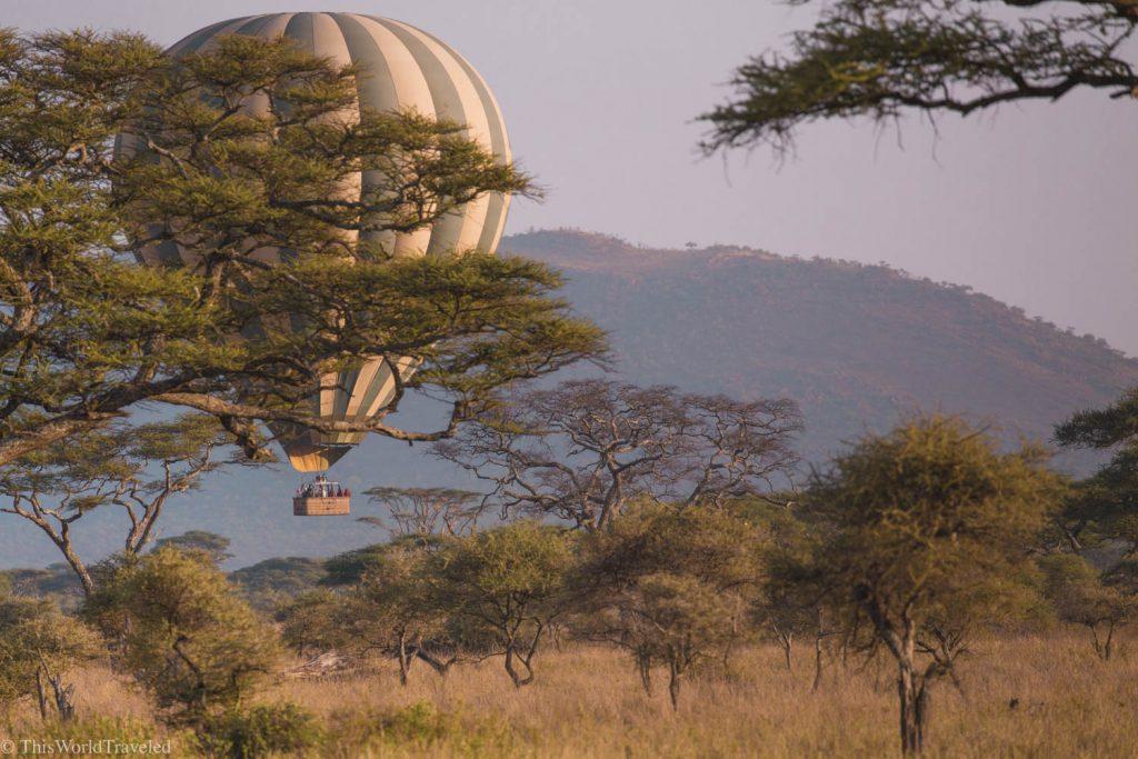 Hot air ballooning over the Serengeti in Tanzania