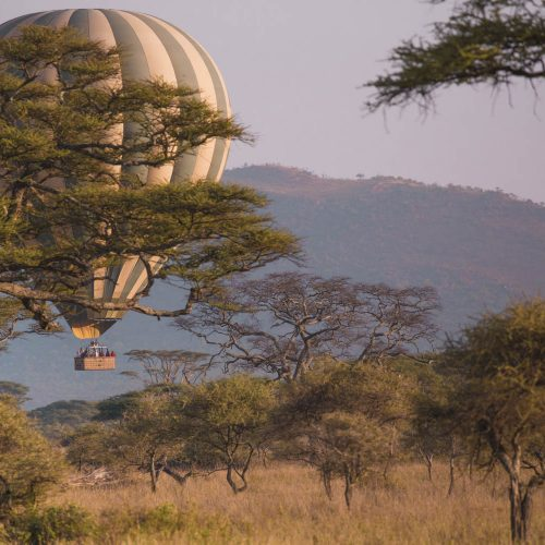 Hot air ballooning over the Serengeti in Tanzania
