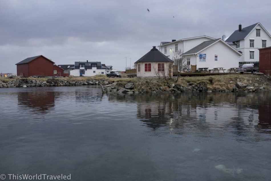 The small town of Andenes and the surrounding mountains